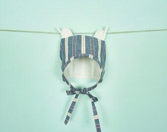 Linen Summer Bear Hat - 6 & 12 Month Baby Bonnet with Bear Ears