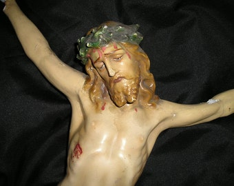 "Vintage 19"" Crucified Jesus Christ Corpus. Antique Rescued Religious/Christian damaged Church Relic/Icon."
