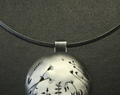 Meadow necklace. Oxidized sterling silver, hand saw cut of silhouettes of grass, flowers, herbs. Round color, round centerpiece 50 mm, 2''