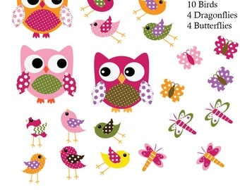 Kids Rainbow Vinyl Decals,Owl Decals,Baby Wall Decals,Nursery Wall Decals