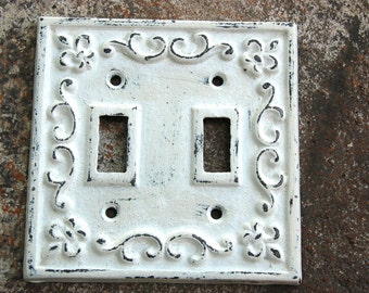 Decorative Double Switch Plate Covers Wrought Iron Hand Painted Distressed Shabby Chic White Switch Cover