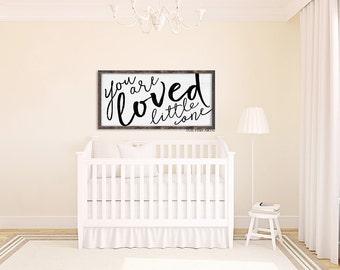 You are Loved Little One, Nursery Sign, Over The Crib, Nursery Decor, Wood Sign, Playroom Sign, Nursery Wall Art, HAND LETTERED, Farmhouse