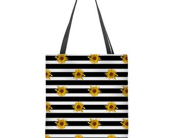 Floral tote bag, black and white stripes with sunflowers, large tote bag, shoulder bag, gift for her, Mother's Day gift, bridesmaids' gift