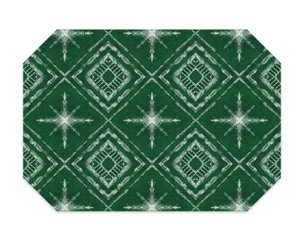 Shibori style placemat, green placemat, star pattern, cloth placemat, washable polyester fabric placemat, table linens