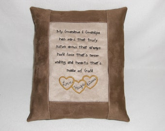 Grandparent Embroidered Suede Pillow, Heart, Love, Hugs, Decorative Pillow, Pillow with Saying, Pillow with Words, Accent Pillow, Novelty