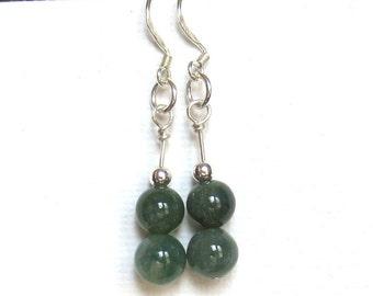 Jade Green Earrings - Fancy Jasper Earrings - Stack Earrings - Sterling Silver Earrings - Green Dangle Earrings - Minimalist Earrings