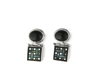 Labyrinth Opal Mosaic Sterling Silver Earrings
