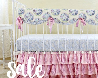 READY TO SHIP and 30% Off Lavender Custom Baby Bedding Set - Bumperless Taffy Topiary