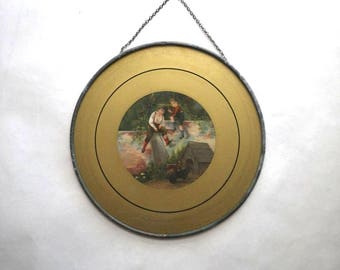 """Victorian Flue Cover - Boys & Dogs Dachshunds - 7"""" Diameter Painted Round Glass Lithograph Print Wall Hanging Art"""