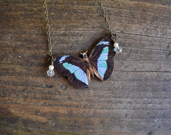 BROWN and BLUE BUTTERFLY necklace insect pendant moth jewelry jewellery woodland