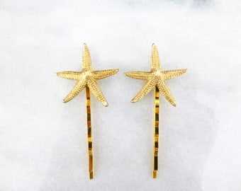Gold Starfish Bobby Pins Bridal Hair Clips Nautical Bride Bridesmaid Destination Beach Weddings Little Mermaid Ariel Accessories Womens Gift