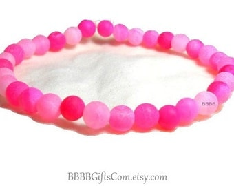 Pink Bracelet Rainbow Stretch USA Multicolored Ombre Dragon Vein Beads Made In USA