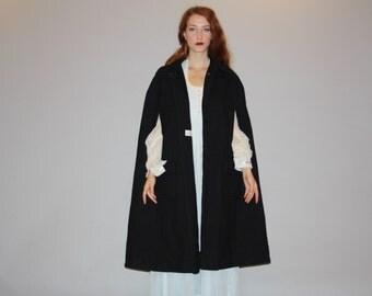 Vintage 1960s Black Wool Formal Evening Opera Cape Coat  - Vintage 60s Cape  - Vintage 1960s Black Capes - W00050