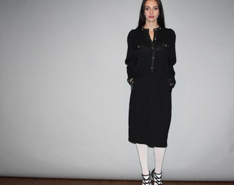 Vintage 80s Black St. John Knit Dress  - Vintage St. John for Neiman Marcus Dress - W00262