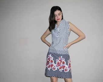 60s Vintage Graphic Black and White Floral and Polka Dot Mod Day Dress - Vintage 1960s Dresses - W00665