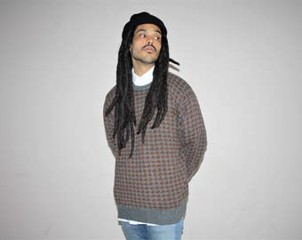 1990s Vintage Neiman Marcus Cashmere Houndstooth Hip Hop Cosby Rap Sweater - 90s Clothing - MV0121