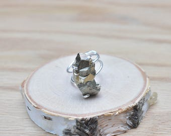 Silver Pyrite Adjustable Statement Ring/ Gold Pyrite Fools Gold Natural Stone Mineral Gem/ Silver Adjustable Ring Statement (RWR10-SV-3)