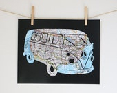 VW Bus Print // United States Map Art // Volkswagen Retro Poster