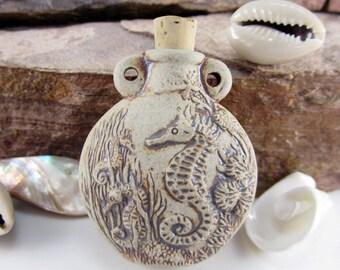 Peruvian Ceramic High Fire Seahorse Bottle