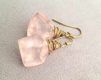 Rose Quartz Wire Wrapped Gold Earrings Asymmetrical