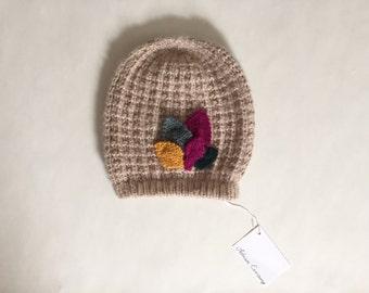 nude alpaca beanie hat | five leaf knitted beanie