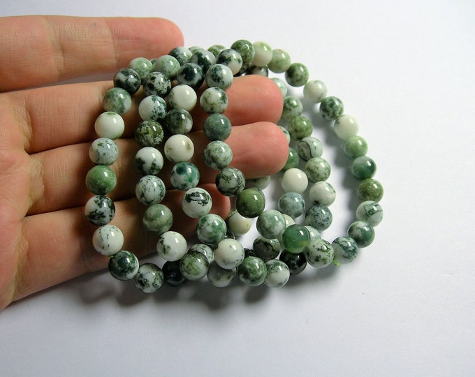 Tree Agate - 8 mm round beads - 23 beads - 1 set - A quality - HSG76