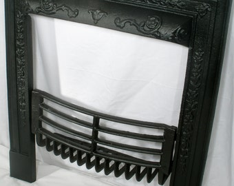 Antique Fireplace Surround with Summer Coal Grate gate marks ornate Victorian cast iron eighteen inch  reconditioned  CC