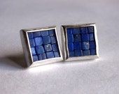 Mosaic Stud Earrings - Lapis Lazuli Post Earrings - Lapis Lazuli Silver Earrings - Square Earrings - Blue Gemstone Earrings - Mosaic Jewelry