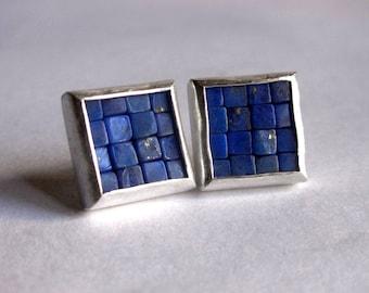 Mosaic Stud Earrings - Lapis Lazuli Post Earrings - Lapis Lazuli Silver Earrings - Square Earrings - Blue Gemstone Earrings - Mosaic Jewelry