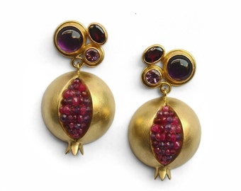 Pomegranate Dangle Earrings - Pomegranate Prima Donna Earrings - Pomegranate 18K Gold Earrings - Pomegranate Earrings - Pomegranate Jewelry