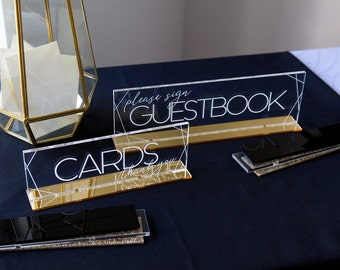 Cards & Guestbook Signs SET, Clear Acrylic Wedding or Party Minimalist Signs with Bases Engraved Card Guestbook Table Signs (Item - CGC250)