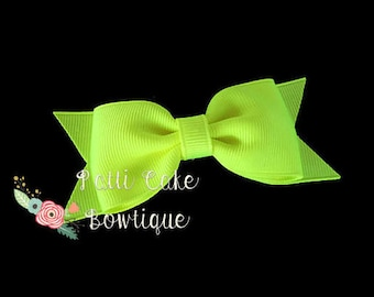 Neon Yellow Hair Bow, Hair Accessories, Hair Bow for Girls, Neon Hair Bow Hair Clip, Toddler Hair Bow, Baby Hair Bow, Yellow Barrettes