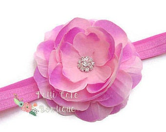 Baby Girl Pink Flower Headband, Newborn Baby Headband, Hair Accessories, Cute Girl Headbands, Flower Headbands for Girls, Pink Hair Band