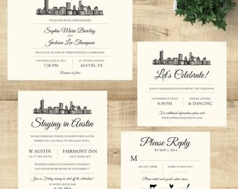 Austin Texas Skyline Destination Wedding invitation suite; SAMPLE ONLY