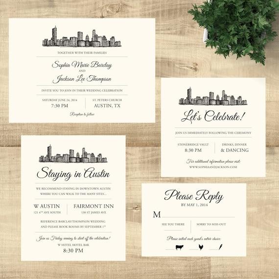 Austin Texas Skyline Destination Wedding Invitation Suite