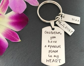 Personalised Godfather Gift - Personalised Godparent Gift - Godfather Keychain - Godfather Keyring - Godparent Gift - Christening Gift