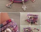 Indian Pink Gypsy Bracelet, Woven Jewelry, Bohemian Bracelets, Hamsa Charm Bracelet, Boho Chic Jewelry, Bracelet Multistrand