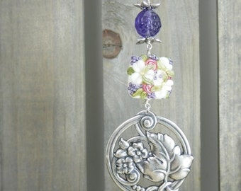 Daisies and Roses Lampwork Bead and Silver and Purple  Pendant with Chain featuring a Brilynn Bead