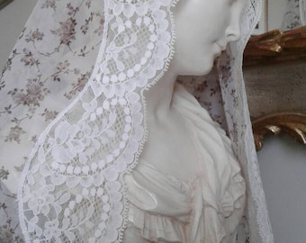 Ivory and Brown Blossom Mantilla in Honour of Blessed Osanna, Veil