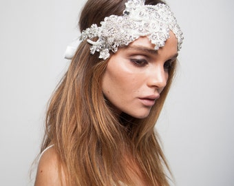 Beaded Lace Headpiece / Beaded Bridal Headpiece / Crystal Lace Headpiece / Crystal Bridal Headpiece / Kristin Perry