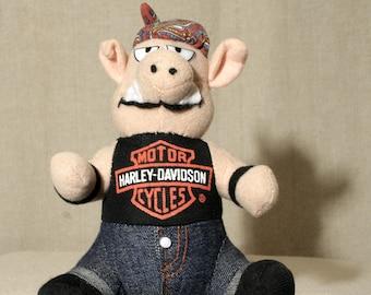 90's Harley Davidson - Motorcycle biker hog plush stuffed animal toy figure Pig