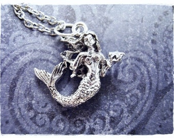 Silver Mermaid and Starfish Necklace - Silver Pewter Mermaid Charm on a Delicate Silver Plated Cable Chain or Charm Only