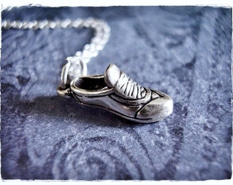 Tiny Running Shoe Necklace - Sterling Silver Running Shoe Charm on a Delicate Sterling Silver Cable Chain or Charm Only