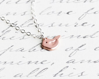 Tiny Rose Gold Plated Bird Pendant Necklace on Sterling Silver Chain
