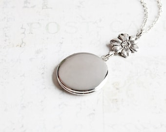 Round Silver Locket Necklace with Flower Charm on Silver Plated Chain, Bridesmaid Jewelry Gift