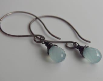 Aqua Blue Chalcedony Earrings Sterling Silver Faceted Pear Briolette Oxidised Oxidized Sterling Silver Wire Wrapped Gemstone Earrings Mint