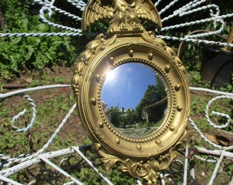 "Vtg 1965 Ornate Gold Syroco Style Smaller Size Federal Eagle Convex Bubble Glass Bullseye Mirror, Homco, 12.75"" x 8"""
