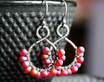 Magenta beaded dangle earrings, dark oxidized copper, wire wrapped, glass beads, pink, red, Miyuki, drop, beaded hoop, Mimi Michele Jewelry