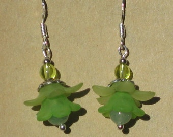 Fairy Flower Earrings with Aventurine and Glass Beads