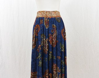 Vintage Festival Maxi Skirt, Hippie Skirt, Paisley Print, Boho, 80's Clothing, Carole Little, XS, Small, Blue, High Waist Skirt